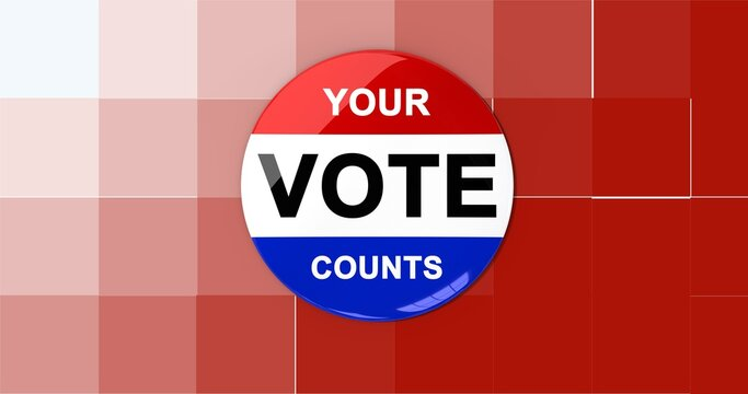 Composition of your vote counts text on badge with american flag on pixelated background