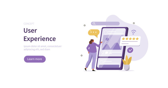 Character testing user interface and usability for mobile app. Customer or tester giving feedback on smartphone. Customer experience and mobile development concept. Flat cartoon vector illustration.