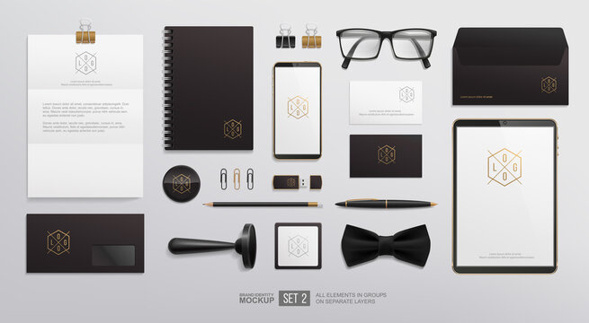 Black business Stationery set for corporate Brand Identity Mockup. logo presentation template.  Personal Branding mock-up of notebook, envelope, business card, stamp. Office items isolated vector
