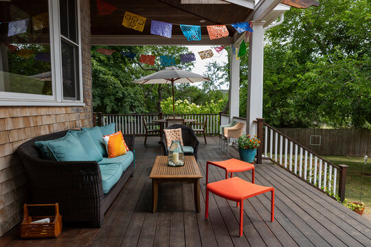 Outdoor Porch decor at home with Coffee Table