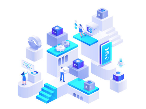 Cryptocurrency mining isometric concept. Blockchain technology, bitcoin mining farm. People working on crypto business, data analysis, financial tools. Vector character illustration in isometry design