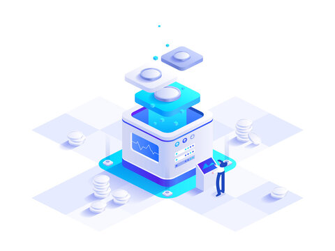 Cryptocurrency and blockchain technology isometric concept. Woman works at digital money mining farm, bitcoin tech, data analysis, financial tools. Vector character illustration in isometry design