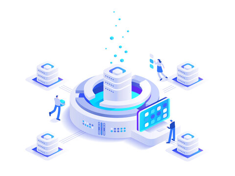 Cryptocurrency mining isometric concept. Team works at digital money mining farm and blockchain technology, financial tools, bitcoin marketplace. Vector character illustration in isometry design