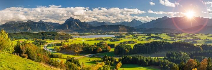 panoramic mountain range in Bavaria, Germany