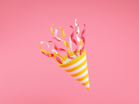 Party popper with flying confetti 3d render illustration on pink background.