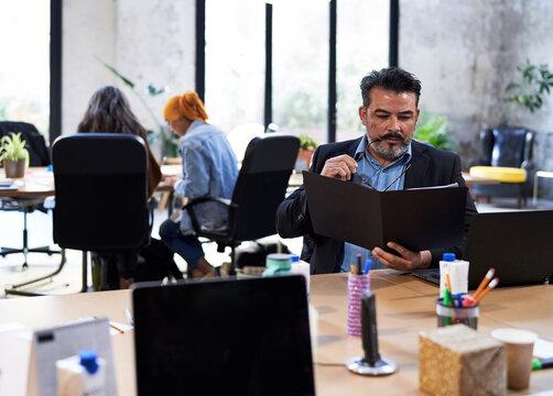 Man reading company analytics