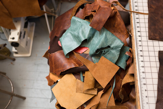 Leather swatches in workshop
