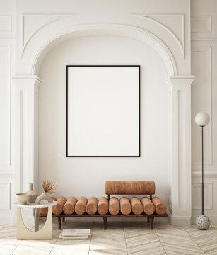 mock up poster frame in modern interior background, living room, minimalistic style, 3D render, 3D illustration