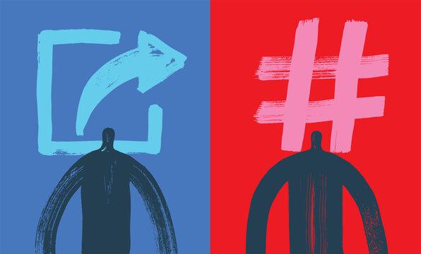 Two Influencers, Digital Marketing Social Media Concept