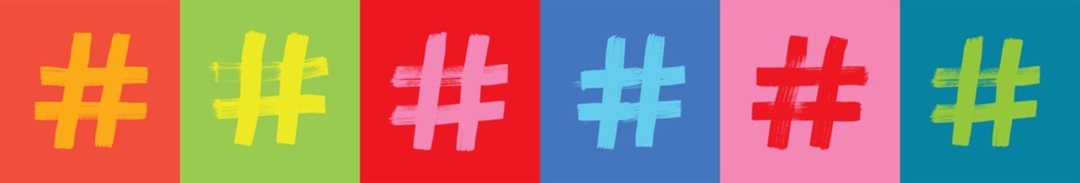 Colorful Hashtag Web Banner, Social Media Concept