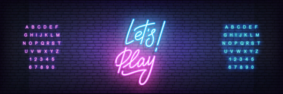 Let's Play neon template. Glowing neon lettering Lets play sign