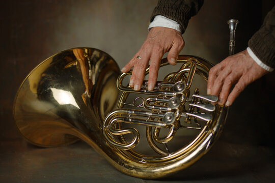 person playing the french horn