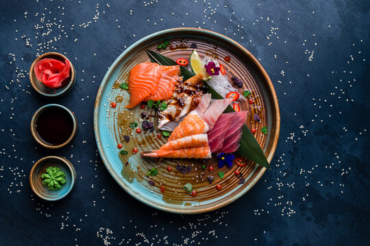 Sashimi set, Japanese food sashimi a traditional dish of raw fish served on the table with copy space