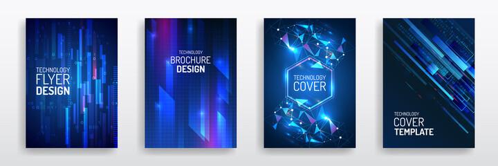 Fototapeta Futuristic business cover layout. Technology modern brochure templates. Set of Science and innovation hi-tech background. Flyer design of tech elements. obraz