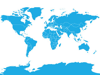 Fototapeta Simplified schematic map of World. Blank political map of countries. Generalized and smoothed borders. Simple flat vector illustration obraz