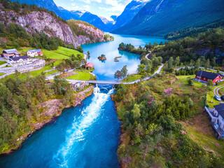 Beautiful Nature Norway lake landscape mountains natural nature