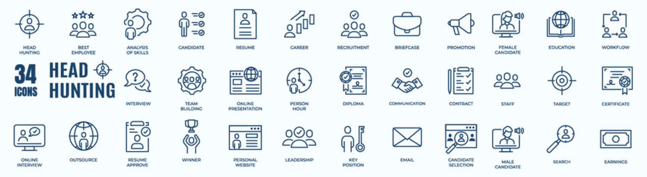 Headhunting And Recruiting minimal thin editable stroke icon set. Included the line icons as Recruitment, Career Goals, Resume or CV, and more. Outline icons collection. Simple vector illustration.