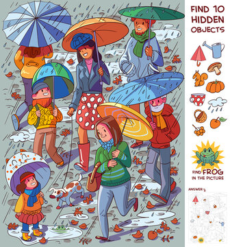 People with umbrellas in the rain. Find 10 hidden objects. Puzzle Hidden Items