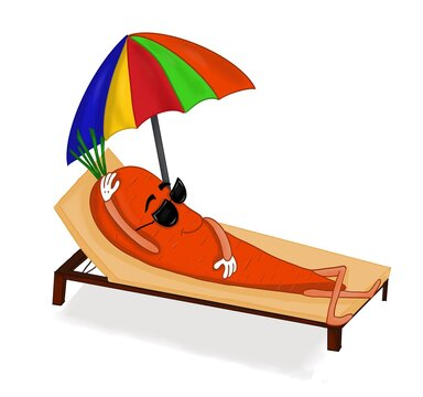 beach chair and umbrella, giving your skin that's why my name is carrot.