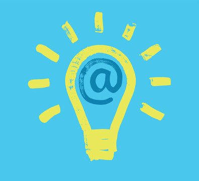Lightbulb and at symbol, e-marketing innovation concept