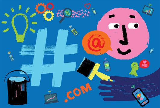Social Media Graffiti Concept