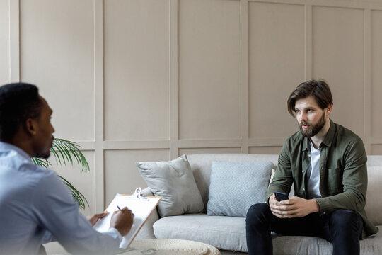Psychoanalytic having conversation with patient