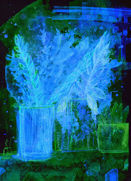 Greens in Blue, an semi abstract watercolour painting of potted plants