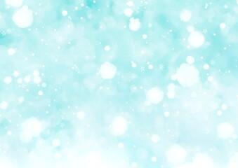 幻想的なふわふわ雪の背景 水色