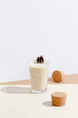 Delicious Smoothie With Biscuit And Details.