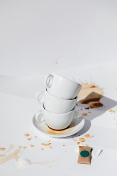 Dirty Coffee Cups With Stains All Around