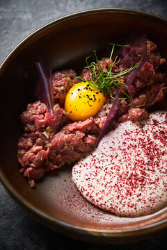 Minced meat with ingredients for cooking