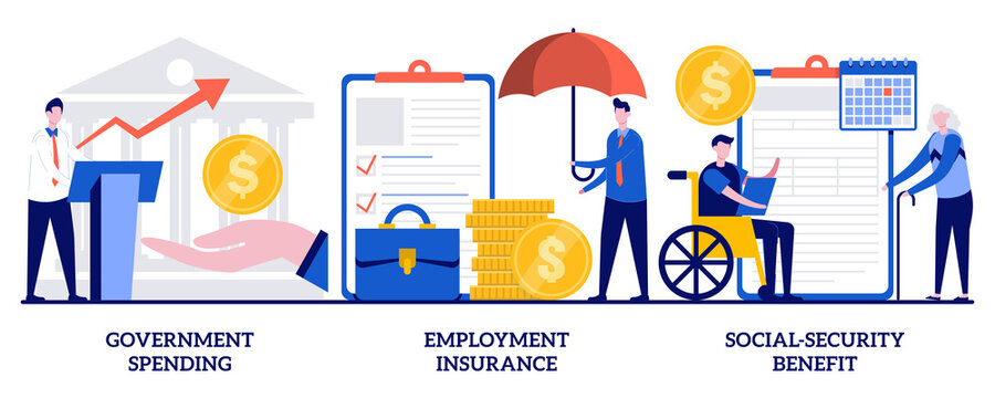 Government spending, employment insurance, social-security benefit concept with tiny people. Country budget vector illustration set. Sickness benefit, retirement insurance, disability metaphor