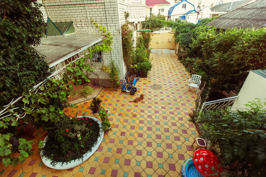 Patio with the small flower garden in a guest house. Russia, Black Sea, Krasnodar Territory, Anapa.