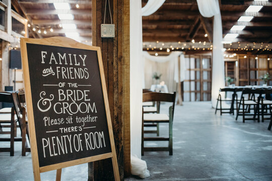 Chalkboard Sign for Wedding Venue Seating for Ceremony