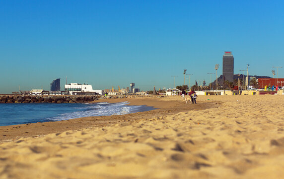 BARCELONA, SPAIN - 02 MAY 2016: Cityscape of the sandy seashore in Sant Marti area in Barcelona