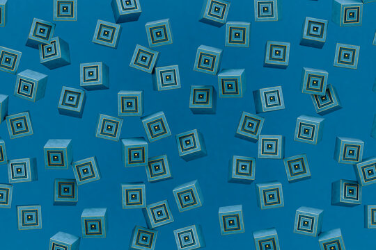 abstract blue and gold cubes on blue background
