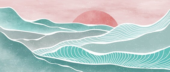Fototapeta Creative minimalist modern paint and line art print. Abstract ocean wave and mountain contemporary aesthetic backgrounds landscapes. with sea, skyline, wave. vector illustrations obraz