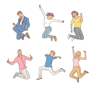 People are jumping happily. hand drawn style vector design illustrations.