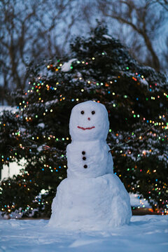Frozen Snowman in Front Yard of Home