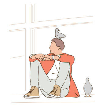 A man is sitting on the street and pigeons are sitting around him. hand drawn style vector design illustrations.