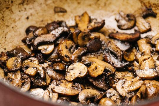 Sauteed crimini mushrooms