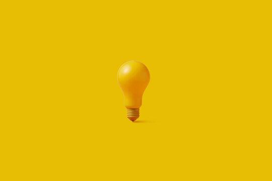 One yellow light bulb