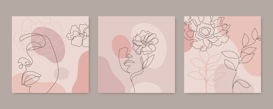 Vector beauty backgrounds, social media stories, posts feed layouts. Set of illustrations with one line continuous woman face and leaves. Contemporary collage with geometric shapes