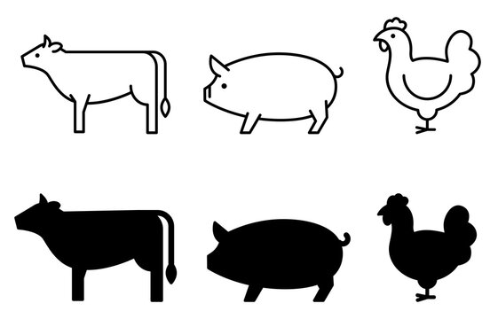 Cow, pig, and chicken icons 牛、豚、鶏のアイコン