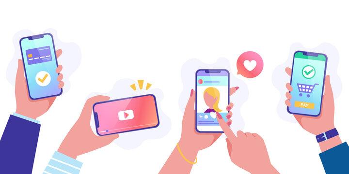スマートフォンでsns、動画、キャッシュレス決済、オンラインショッピングをする人々のベクターイラストフレーム背景(スマホ、女性、男性、インターネット)