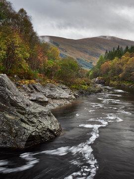Eas Urchaidh falls along the River Orchy. Glen Orchy, Scotland.