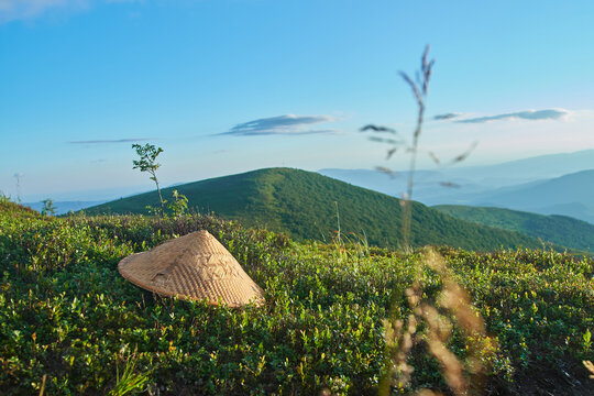 chinese straw hat lying on the green grass at the mountains with the blue sky