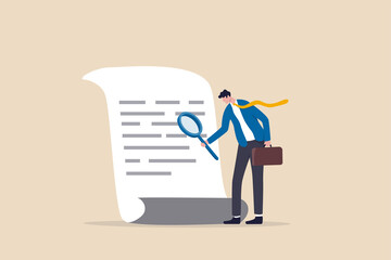 Document checking, agreement or contract validation, financial or budget analysis, search for document files concept, businessman manager holding big magnifying glass checking document paper. - fototapety na wymiar