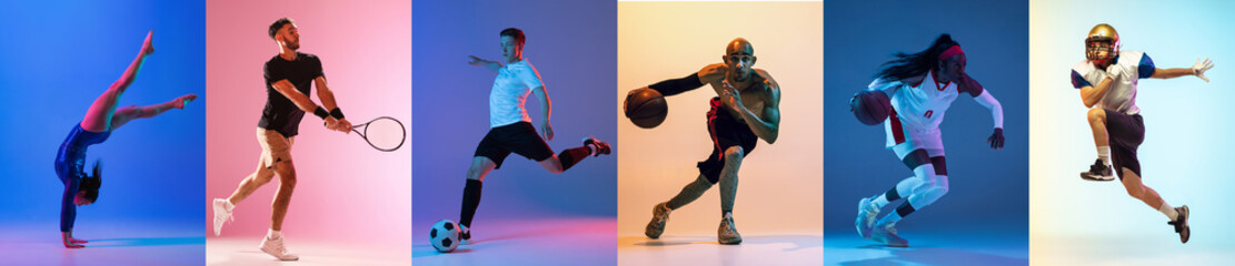 Fototapeta Collage of different professional sportsmen, fit people isolated on color background. Flyer. obraz