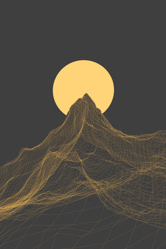 Illustration of wave against a giant sun